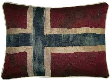 Vintage Style Norwegian Norway Flag Woven Tapestry Cushion Pillow
