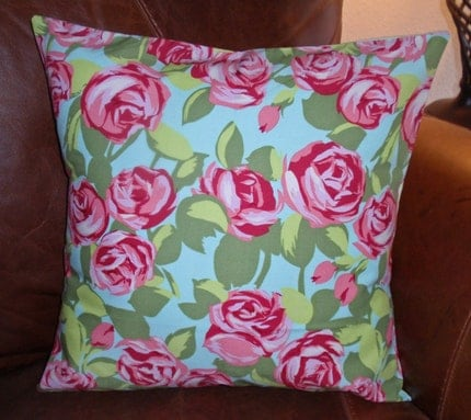 Throw Pillow 16x16 Removable cover sewn with Amy Butler's Tumbled Roses in Pink from the Love Collection