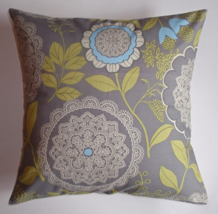 Throw Pillow 16X16 Removable cover sewn with Amy Butler's Lacework in Gray