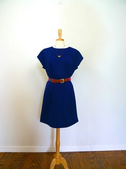 navy blue short sleeve hour glass cocktail dress large
