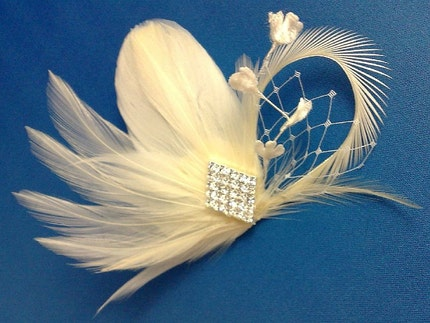 Art Deco Feather Fascinator Crystal  Ivory White Champagne LOVE - CUSTOM