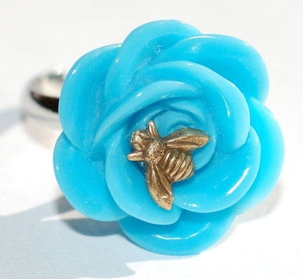 Whimsical Unique Queen Bee on Blue Rose Flower by ArtMadeByTammy from etsy.com