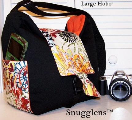 CUSTOM Digital SLR HOBO Camera Bag..LARGE..Sundance/orange interior Snugglens