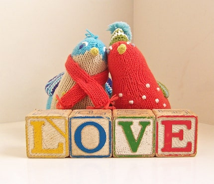 vintage wooden letter blocks - love