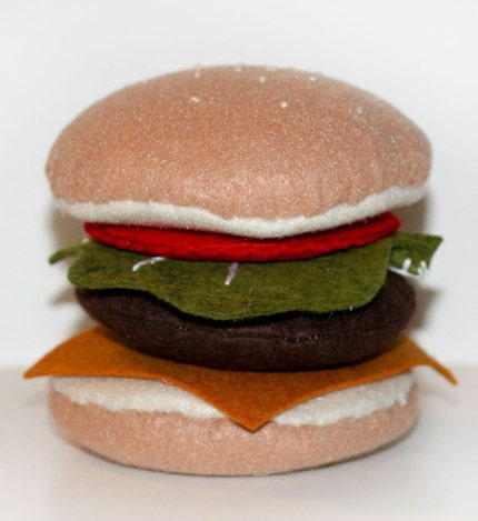 Felt Play Food Cheeseburger-Bun, Lettuce,Tomato, Cheese, Hamburger