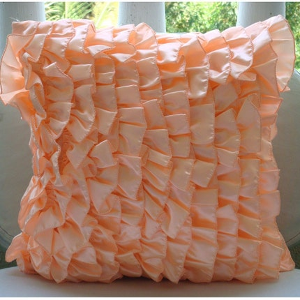 The HomeCentric Vintage Peach Sorbet  - 16x16 inches Square Decorative Throw Peach Satin Pillow Covers with Satin Ruffles at Sears.com