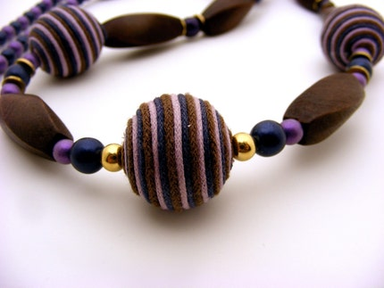 Long navy and purple frosted glass and wood necklace