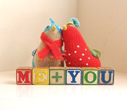 me and you - vintage wooden letter blocks
