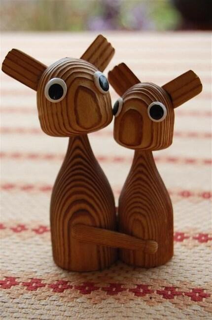 Vintage Cute Ugly Huggin Reindeer Wood Figurine