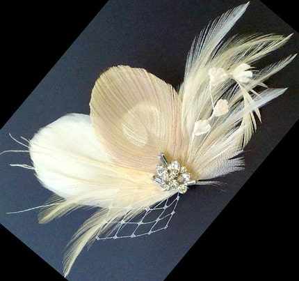 Ivory Eggshell Peacock Art Deco Bridal Feather Fascinator FITRI - SHIP READY