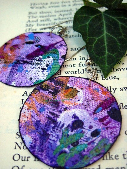 SALE Painted Canvas Earrings- Purple Daze Circles