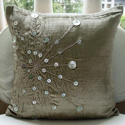 Fantasia - Throw Pillow Covers - 16x16 Inches Velvet Pillow Cover with Silver Mother Of Pearl