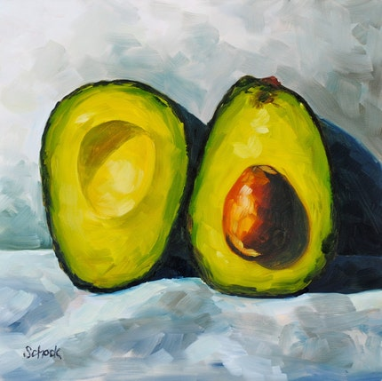 The Large Avocado - Still life oil painting - 10x10