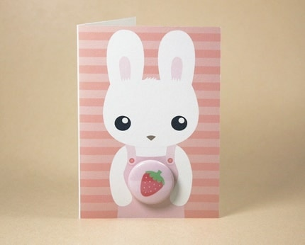 Strawberry Bunny Rabbit Gift Card featuring Badge