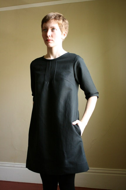 pintuck dress - black (S)