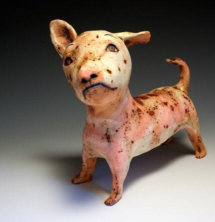 Red - Original Ceramic Dog by Jenny Mendes