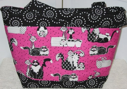 Black Cat Tote / Mischievous Kitty / Ready to ship