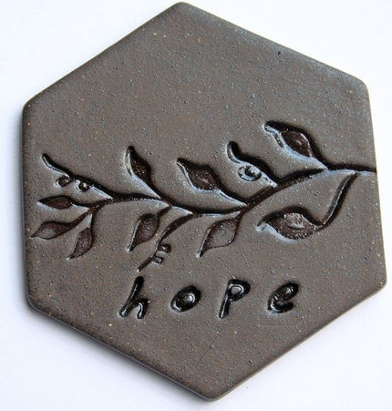 Handmade Ceramic Cabochon - HOPE