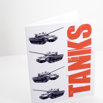 Tanks set of 6 thank you cards and envelopes by theRasilisk