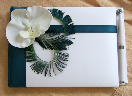 Peacock Feathers and Teal Wedding Color Guest Book With Pen
