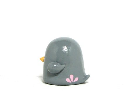 Large Gray and Pink Bird Figurine