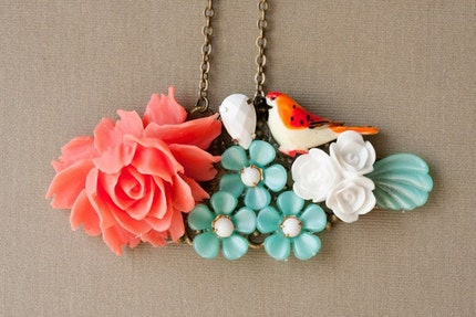 Ho Sweet Bird Vintage Collage Necklace