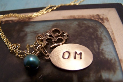 Handstamped Om Necklace