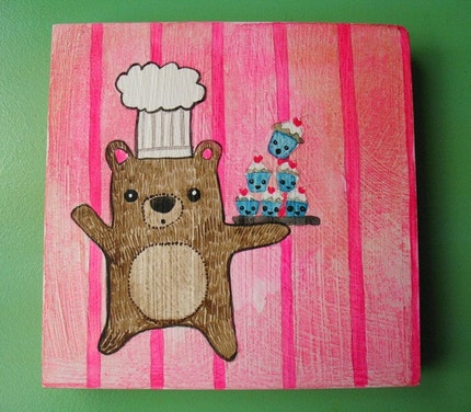 Baker Bear-5x5 Original Watercolor Painting