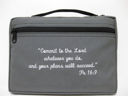 Bible Cover In Gray With Embroidered Scripture Proverbs 16-9