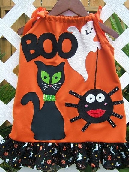 Boutique Halloween Appliqued Black Cat Ghost Spider Orange Halloween Appliqued Pillowcase Dress