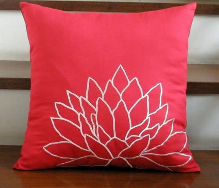 Red and White Lotus Embroidery Pillow Cover