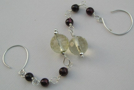 Sienna-Garnet and Lemon Quartz Drops Earrings