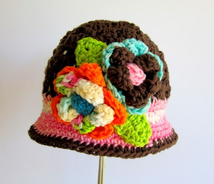 CHOCOLATE PINK CROCHET CLOCHE FLOWER HAT - ANY SIZE