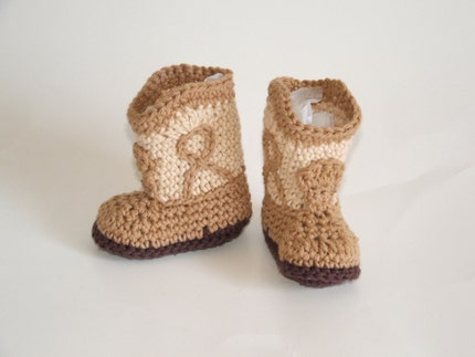 Tan Cowboy Booties, 3 month size, that look like real cowboy boots