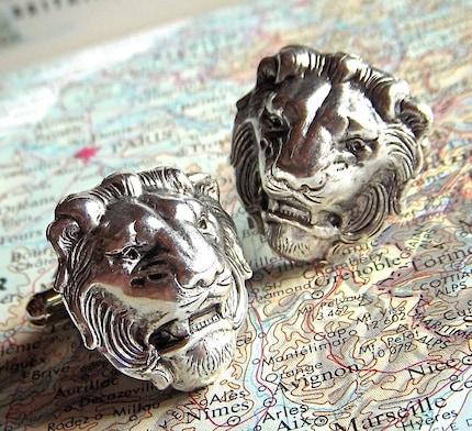 Cufflinks - SILVER Lion Heads - BIG and BOLD Victorian Regal Gothic Cuff Links