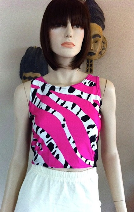 Vintage 80s Animal Print Cropped Exercise Aerobic Top Size S/M