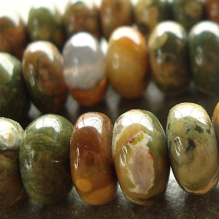 10 x 6mm Rust, Green and Golden Natural Smooth Rhyolite Rondelle Beads - 12 Pieces