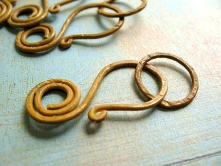 Saffron Yellow - Forged Copper Swirl Clasp with Link