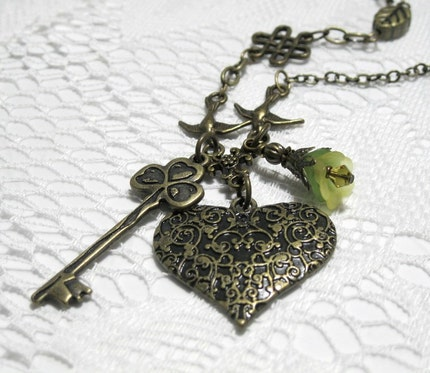 Antiqued Brass Heart and Key Pendant Necklace