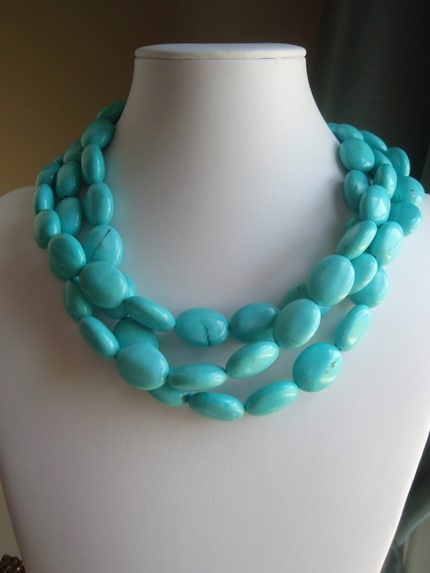 NECKLACE - TRIPLE STRAND TURQUOISE NECKLACE