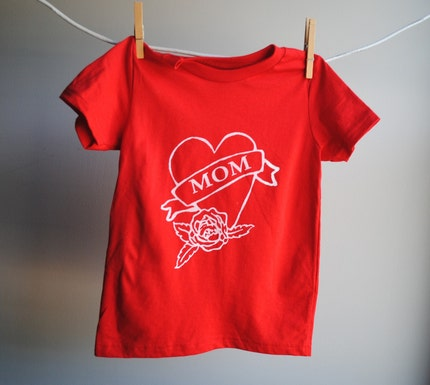 Mom Tattoo heart TShirt, sized 4 toddler, Red with White Screen Printed Ink