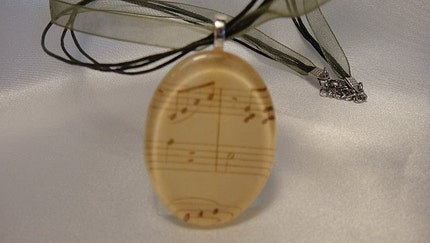 Large Oval Music Notes Glass Tile Pendant Necklace