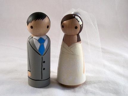 mariages r tro figurines de mariage en bois peindre soi m me. Black Bedroom Furniture Sets. Home Design Ideas