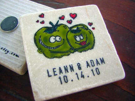Green Apples in Love, Fall Wedding Save the Date, Favors, Tile Magnets, Harvest, Autumn, Set of 25