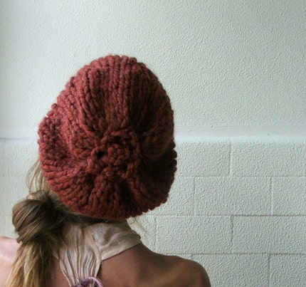 Red Rust Chunky Hat only 2 left