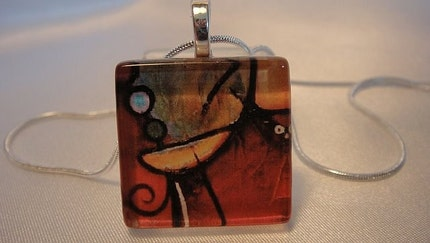 Abscract Art Glass Tile Pendant Necklace