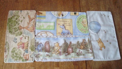 Classic Vintage Upcycled Winnie the Pooh Baby Infant Burp Napkins Cloths Free Shipping
