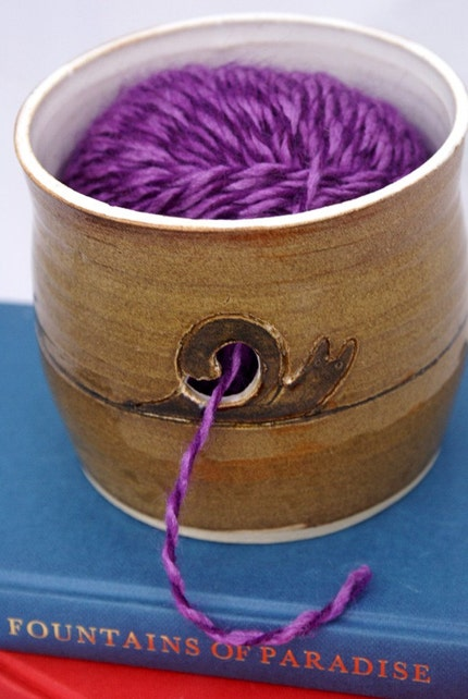 Pottery yarn bowl - for double knit yarn with snail design