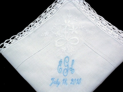 Monogrammed wedding handkerchief Swiss cotton handkerchief embroidered with your monogram or short message