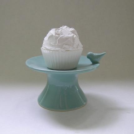 Ceramic Bird Cupcake Stand in Robin Egg Blue